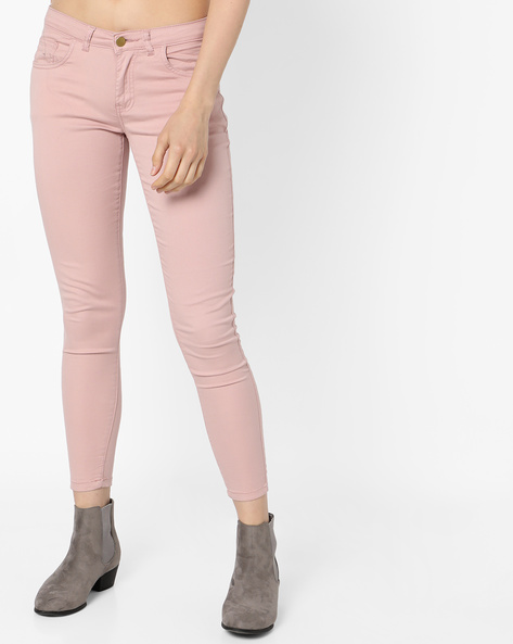 Skinny Fit Pants With 5-Pockets By Fame Forever By Lifestyle ( Pink )