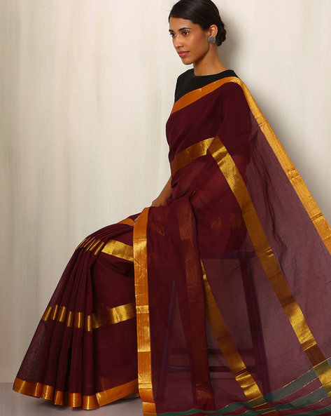 Mercerised Cotton Saree With Zari Stripes By Indie Picks ( Maroon )