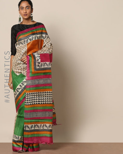 Handloom Pure Silk Tussar Ghicha Printed Saree By Indie Picks ( Multi ) - 460146989001
