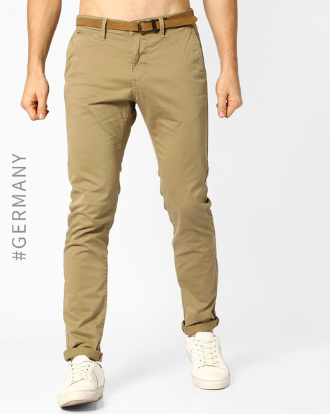 Regular Fit Flat-Front Trousers By Tom Tailor ( Khaki )