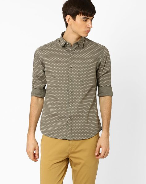 Printed Slim Fit Casual Shirt By JOHN PLAYERS ( Olive )