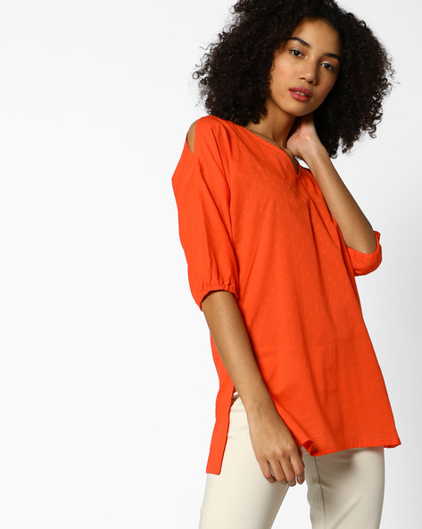 Woven Tunic With Cut-Out Sleeves By AJIO ( Coral )
