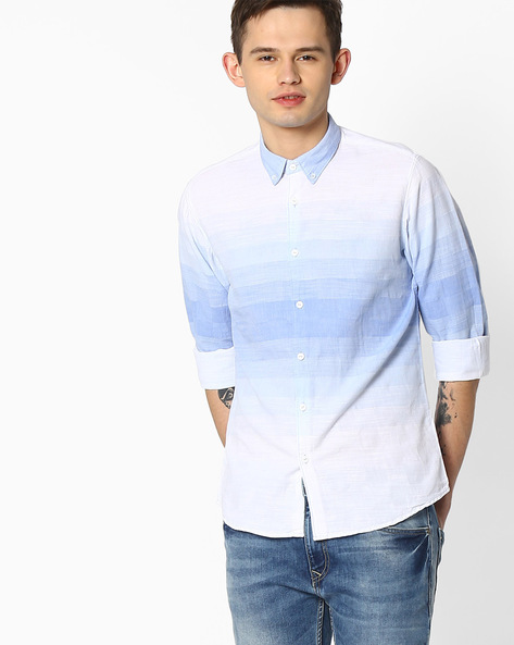Slim Fit Shirt With Button-Down Collar By Pepe Jeans ( Blue )