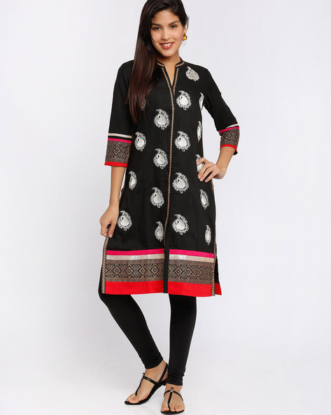 Kurta With Embroidery By Rangmanch By Pantaloons ( Black )