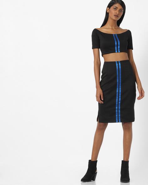 Off-Shoulder Bodycon Dress With Cutouts By AJIO ( Black )
