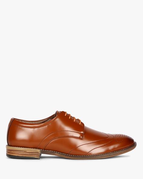 Wingtip Derby Shoes With Broguing By ESCARO ( Tan )