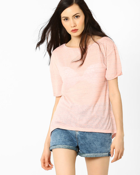 Striped Sheer Top By AJIO ( Pink )
