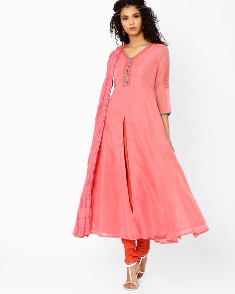 Anarkali Churidar Kurta With Dupatta By AJIO ( Peach )
