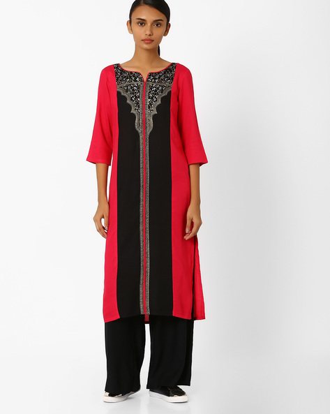 Printed Straight Kurta By AURELIA ( Black ) - 440732885004