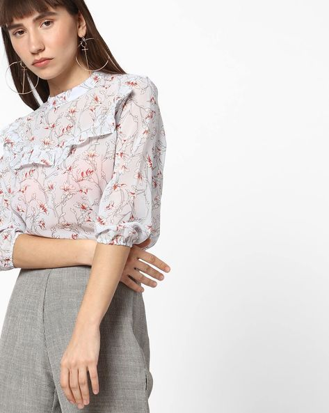 Floral Print Top With Ruffled Panel By DNMX ( Ltblue )