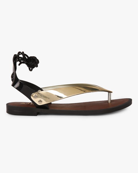 Upto 70% Off On Women Wear By Ajio | AJIO Ankle-Wrap Thong Jelly Flats @ Rs.299