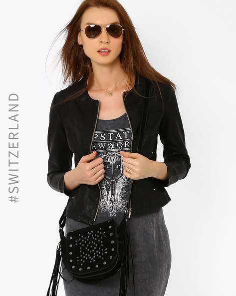 Faux Leather Bomber Jacket By TALLY WEiJL ( Black )