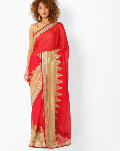 Panelled Saree With Embroidery By Majestic Silk ( Red )