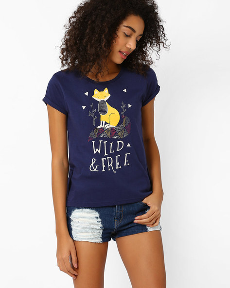 Graphic Print Cotton T-shirt By AJIO ( Navyblue )