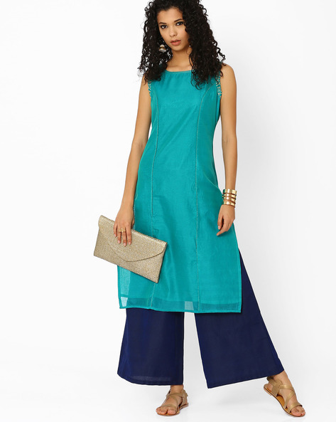Kurta With Palazzo Pants By AJIO ( Teal )