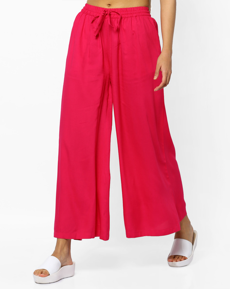 Flared Palazzos With Pocket By Project Eve IW Casual ( Fuchsia )
