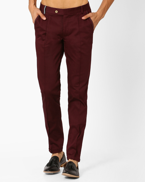 Mid-Rise Slim Fit Chinos By MR.BUTTON ( Maroon )
