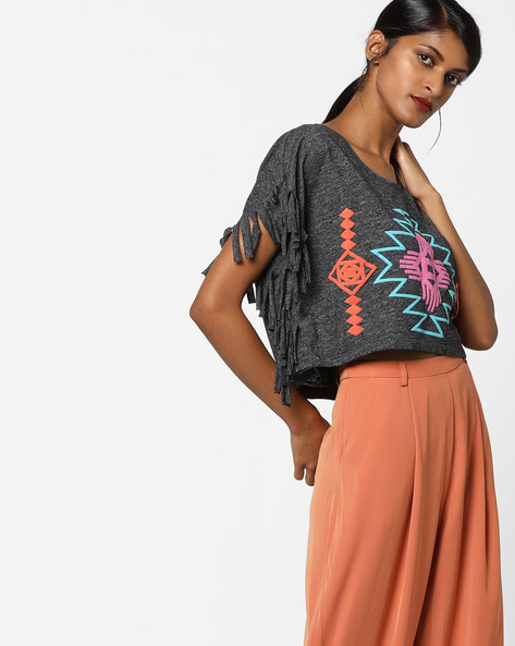 Crop Top With Fringes By Ginger By Lifestyle ( Black )