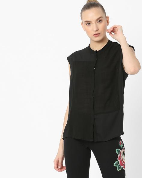 Shirt Top With Mandarin Collar By Tokyo Talkies ( Black )