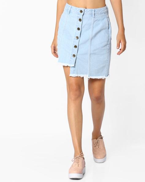 Asymmetric Skirt With Frayed Hemline By AJIO ( Lightblue )
