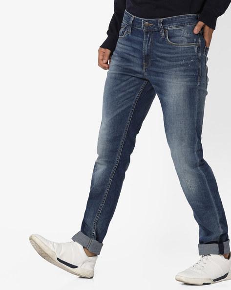 Speckled Slim Fit Jeans By Jack & Jones ( Blue )