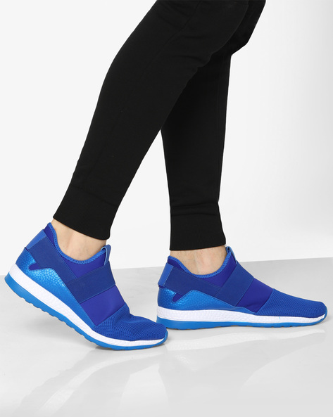 Mesh Panelled Slip-On Sneakers By AJIO ( Blue )