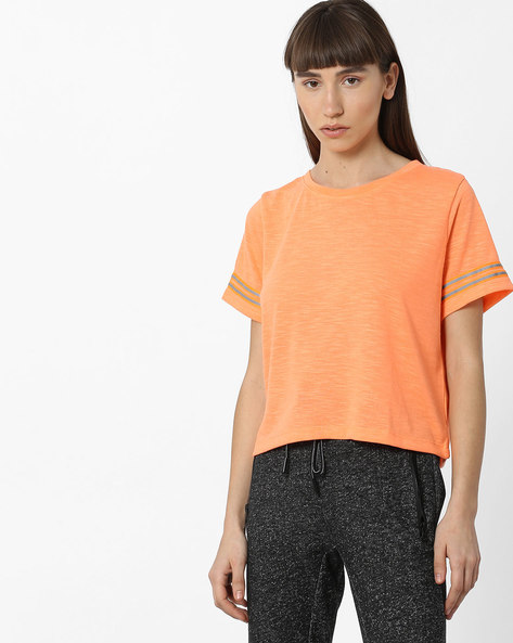 Slub Top With Striped Sleeves By Teamspirit ( Orange )