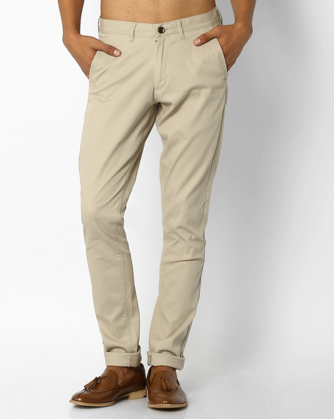 Mid-Rise Tapered Chinos By NETPLAY ( Beige )
