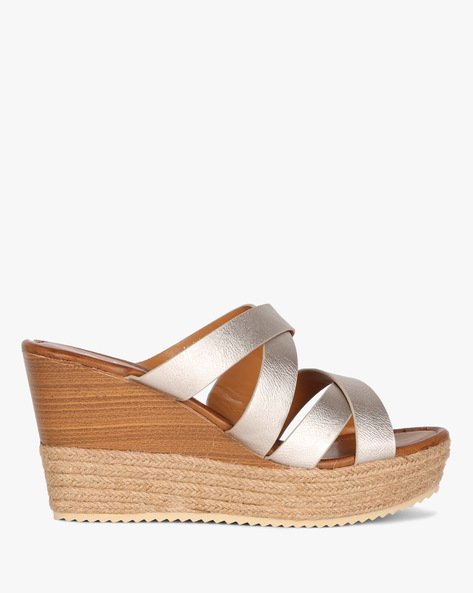 Criss-Cross Wedge Heeled Sandals By AJIO ( Champagne )