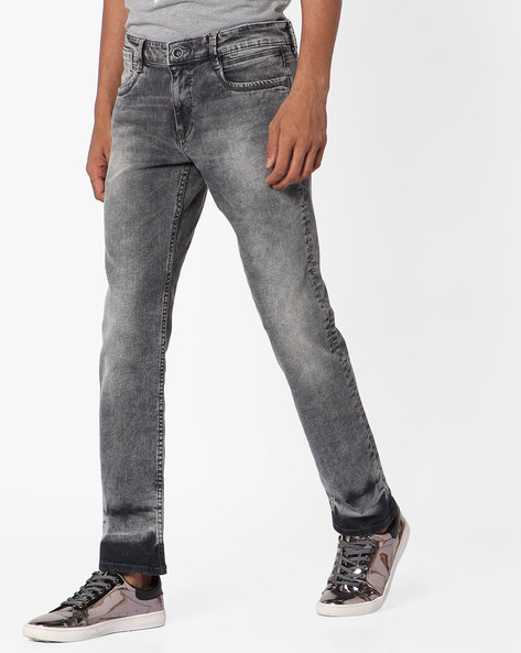 Heavily Washed Slim Tapered Fit Jeans By AJIO ( Ecru )