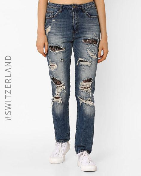 High-Waist Distressed Jeans By TALLY WEiJL ( Lightblue )