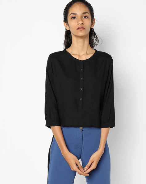 High-Low Top With Button Placket By LEVIS ( Black )
