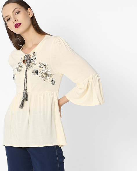 Top With Bell Sleeves By Project Eve WW Casual ( Beige )