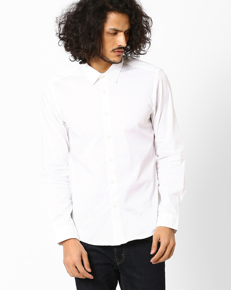 Slim Fit Shirt With Spread-Collar By VOI JEANS ( White )