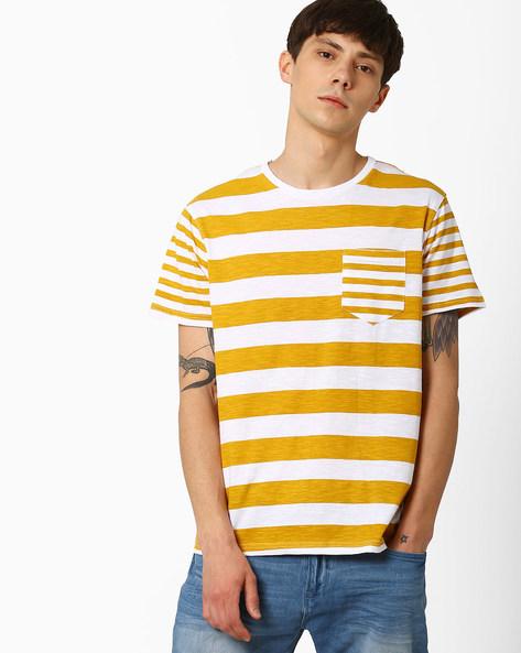 Striped Slim T-shirt With Patch Pocket By AJIO ( Brown )