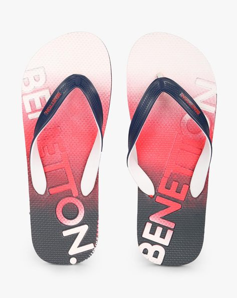 Textured Thong-Strap Flip-Flops By UNITED COLORS OF BENETTON ( Red )