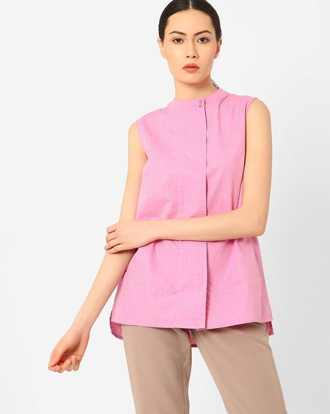 High-Low Sleeveless Shirt By AJIO ( Pink )