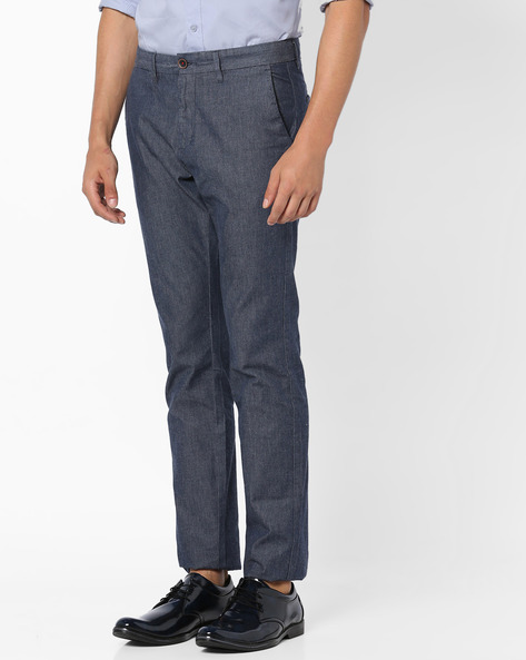 Flat-Front Twill Chinos By NETPLAY ( Navy )