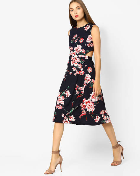 Floral Print Midi Dress By AJIO ( Red )