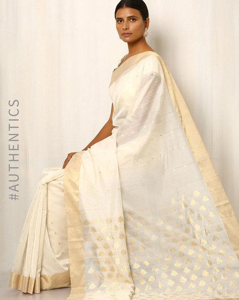 Handwoven Pure Silk Cotton Chanderi Saree By Indie Picks ( White ) - 460037210001