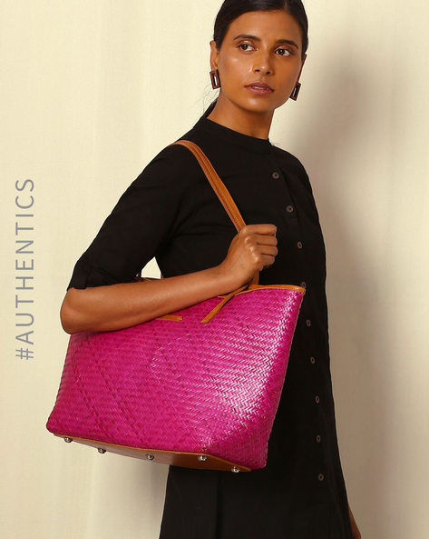 Handcrafted Natural Fibre Tote Bag By Indie Picks ( Pink )
