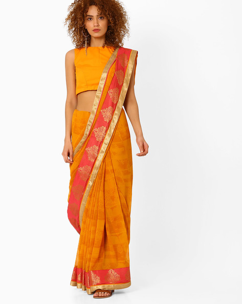 Printed Saree With Contrast Border By Arissa ( Yellow )