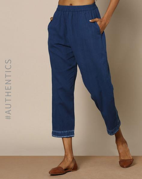Hand-Dyed Shibori Indigo Cotton Casual Elesticated Pants By ANANDA ( Indigo )