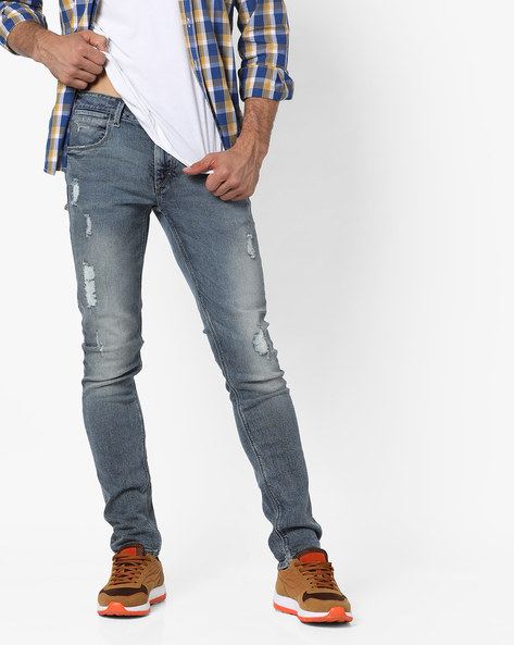 Mid-Rise Slim Fit Distressed Jeans By FLYING MACHINE ( Blue )