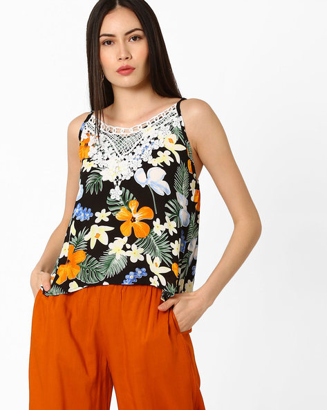 Tropical Print Strappy Top With Crochet By Ginger By Lifestyle ( Black )