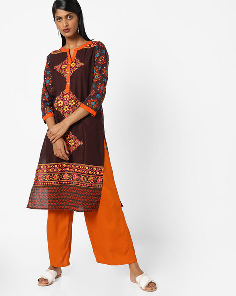 Printed Kurta With Short Button Placket By Vishudh ( Brown )