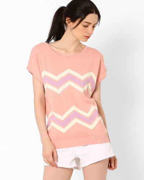 Flat Knit Top With Short Sleeves By AJIO ( Lightpink )