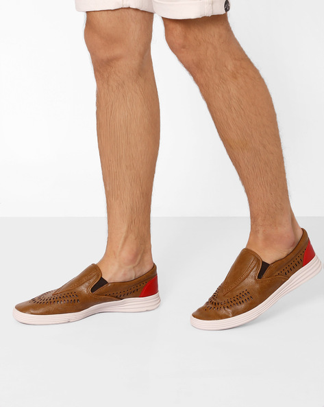 Perforated Slip-On Sneakers By Knotty Derby ( Tan )