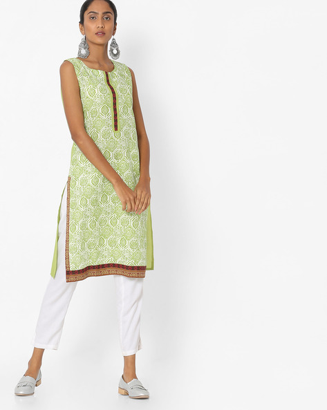 Printed Sleeveless Straight Kurta By Aaboli ( Green ) - 460151391001