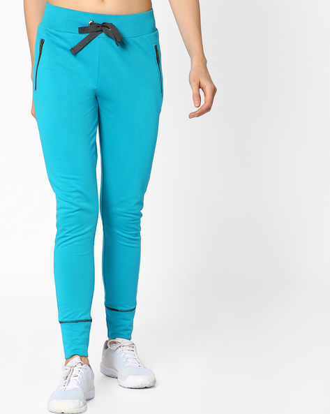 French Terry Track Pants With Drawstring Fastening By AJIO ( Teal )